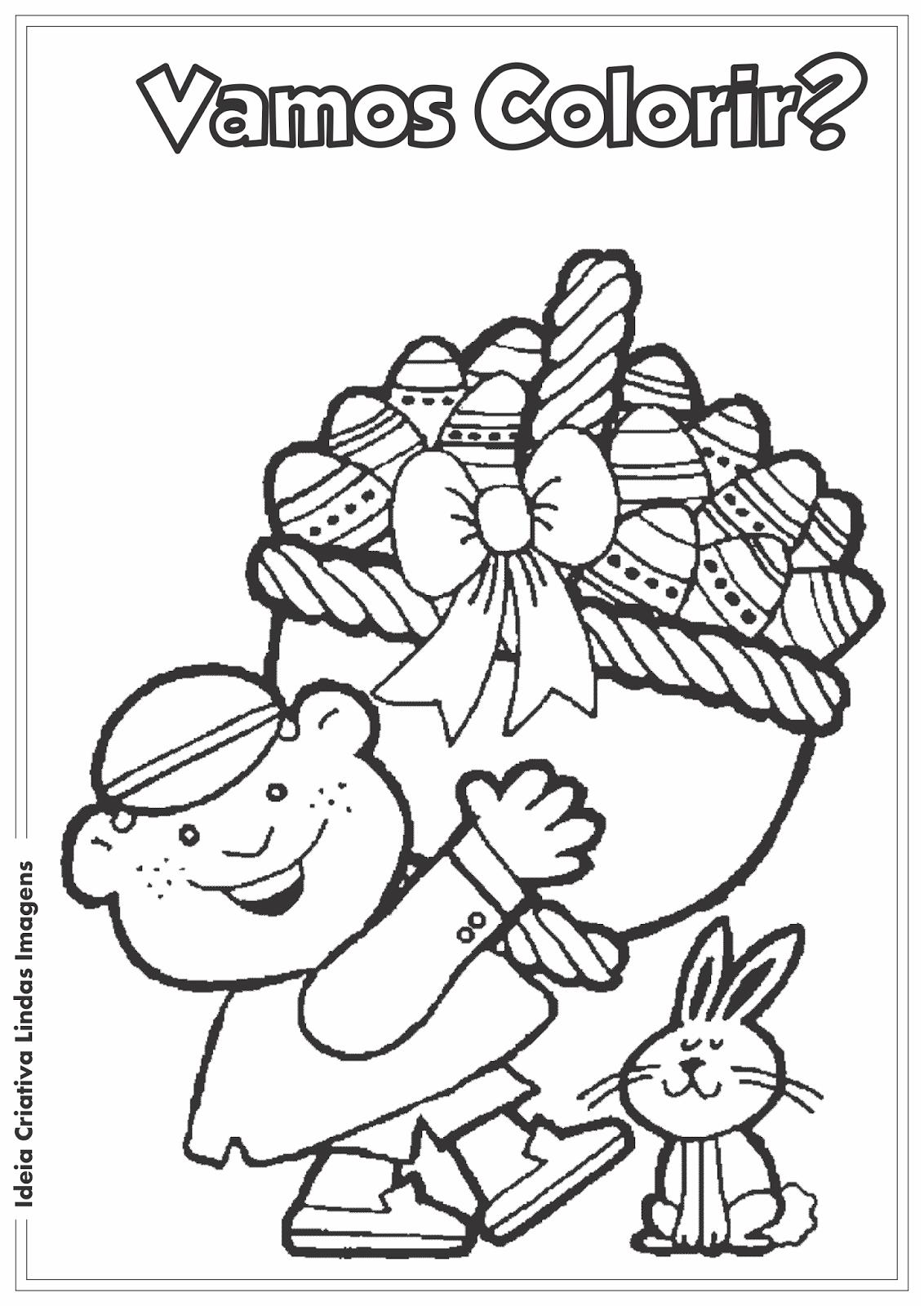 Páscoa Comercial desenho para colorir