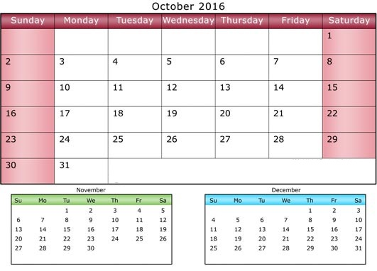 2016 3 Months Calendar With Appointments | Calendar Template 2016