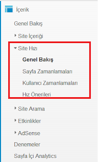 Blogger Site Hızı Ölçümü - Google Analytics