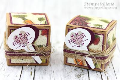 Mini-Geschenkschachteln, Stampin Up aus meinem Garten, Designerpapier Bauernmarkt, Stempel-Biene, Stempelpartys Buchen