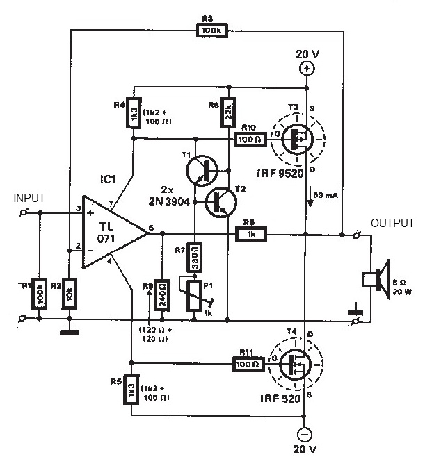 mosfet amplifier 20watt output power