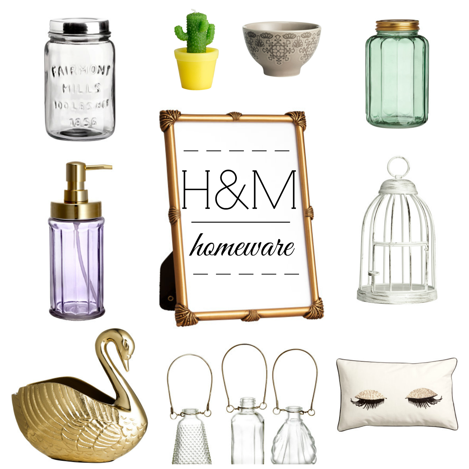 h&m homeware interior design wishlist photo frame bowl cushion cactus candle birdcage