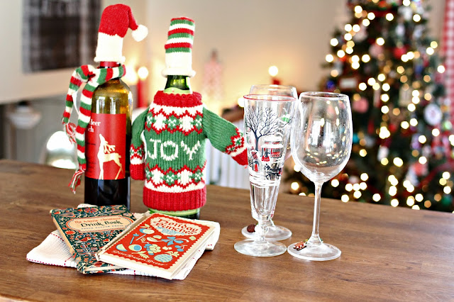 Vintage holiday recipe books and wine bottle accessories hat, scarf and sweater-www.goldenboysandme.com