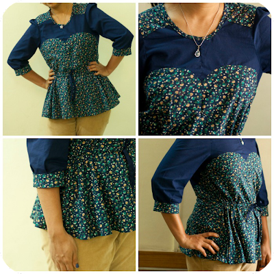 Blouse from burdastyle sewing book with sweetheart neckline