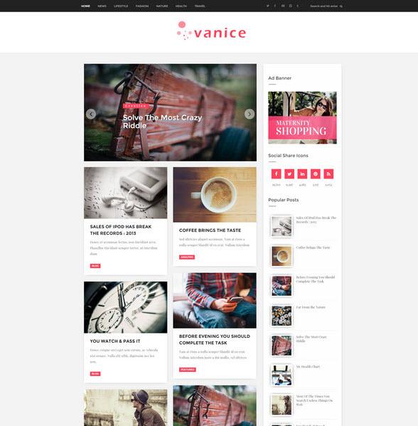 Vanice – Magazine style blogger template