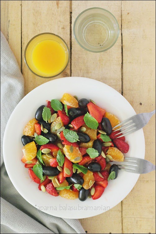 ... Kitchen In India : Grape, Strawberry & Mandarin Orange Salad With Mint