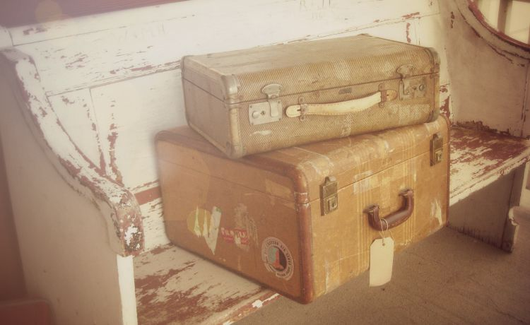 Vintage suitcases (we did NOT take these travelling)