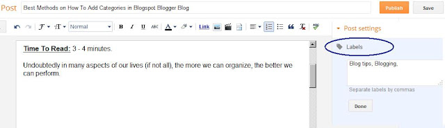 All categories in post in blogger