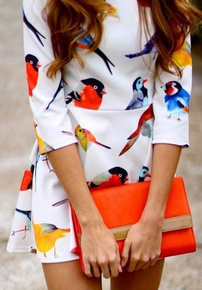 White Birds Print Three Quarter Length Sleeve Dress