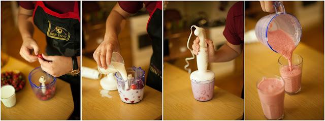 Взбиваем клубнику с йогуртом