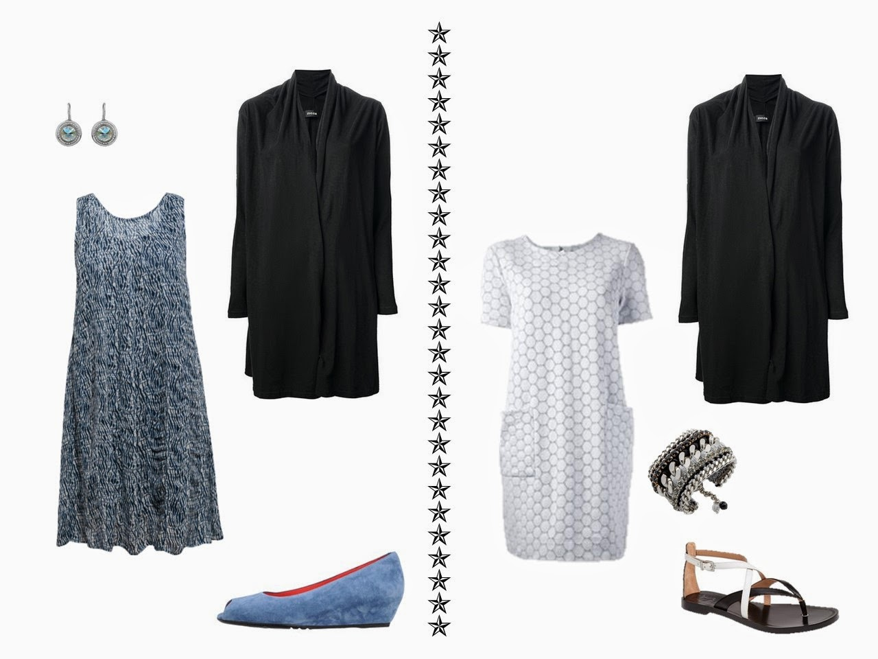 black cardigan with a blue print sleeveless dress, and with a white eyelet lace dress