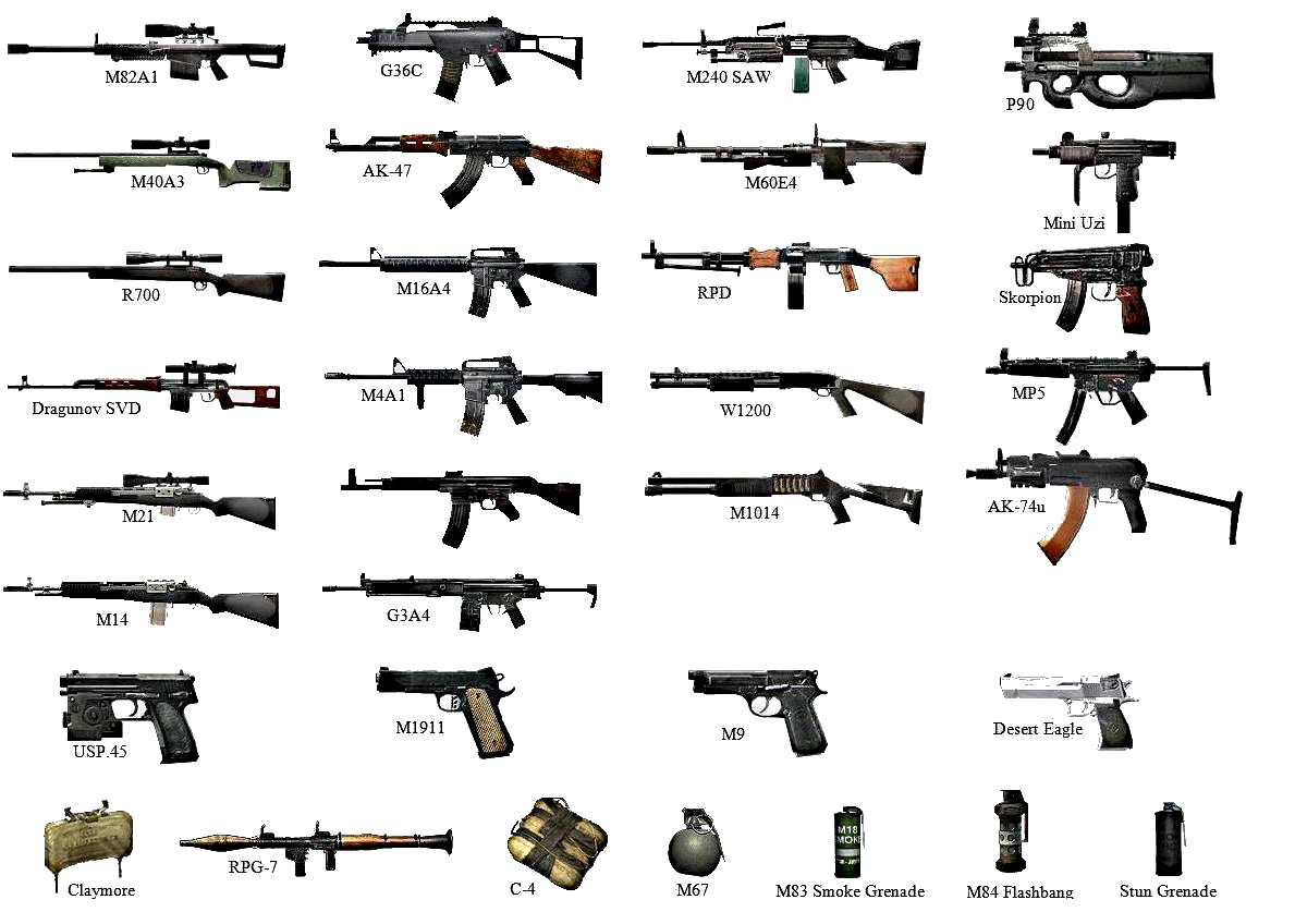 Some of the weapons available in cod4mw