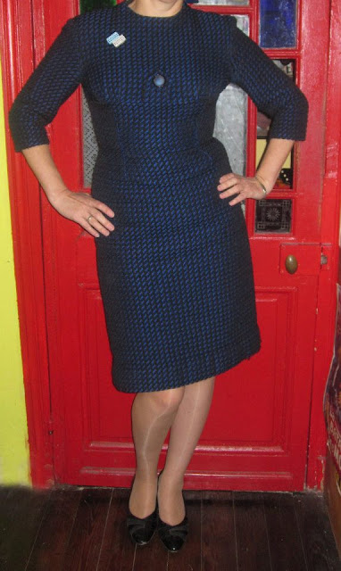 vintage navy black houndstooth dress 1950 50s