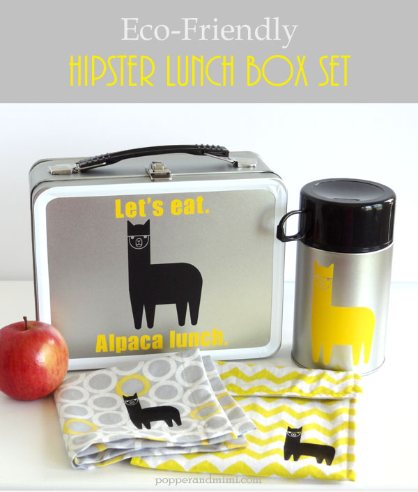 DIY alpaca lunch box set using vinyl and iron-on material. Details at popperandmimi.com