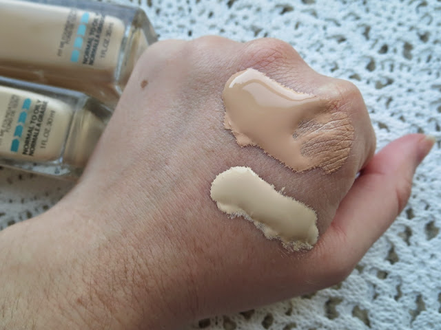 a picture of Maybelline Fit Me Matte+Poreless Foundation in 115 Ivory and 110 Porcelain (swatch)