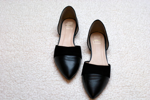 kiomi zalando pointed cut out flats black leather