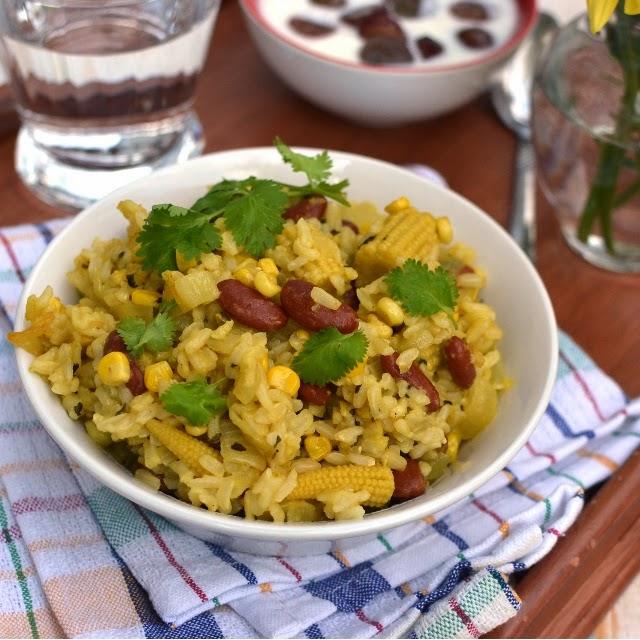 Corn & Rajma (Kidney beans) Pulao