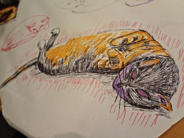 cat drawing, marker, black, orange