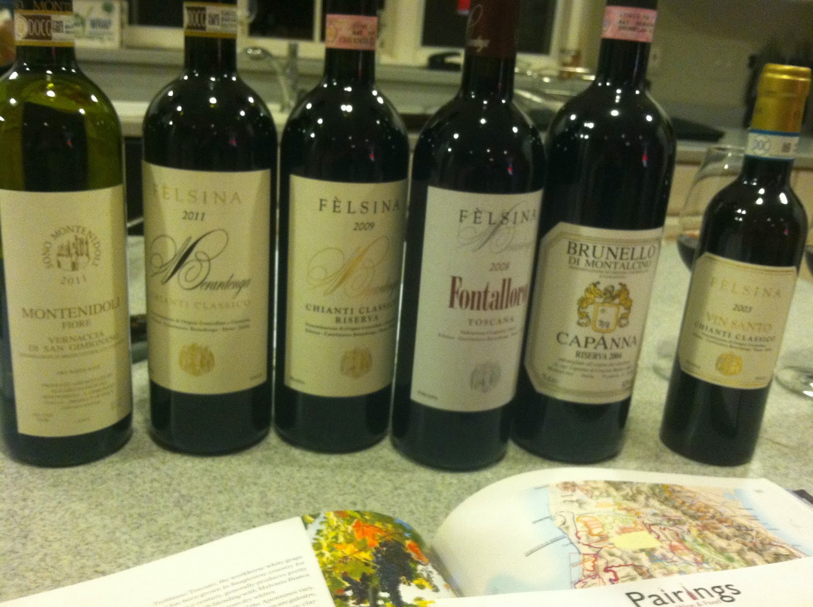 Tuscan wine lineup for wine club dinner featuring Cooking Chat's Tuscan Beef Stew