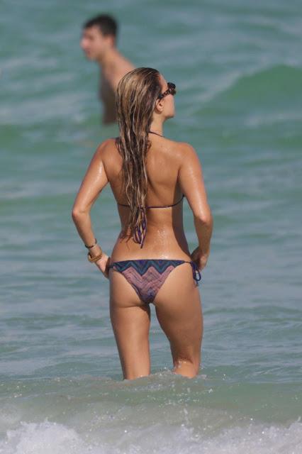 Sylvie Meis in bikini Candids on Miami beach