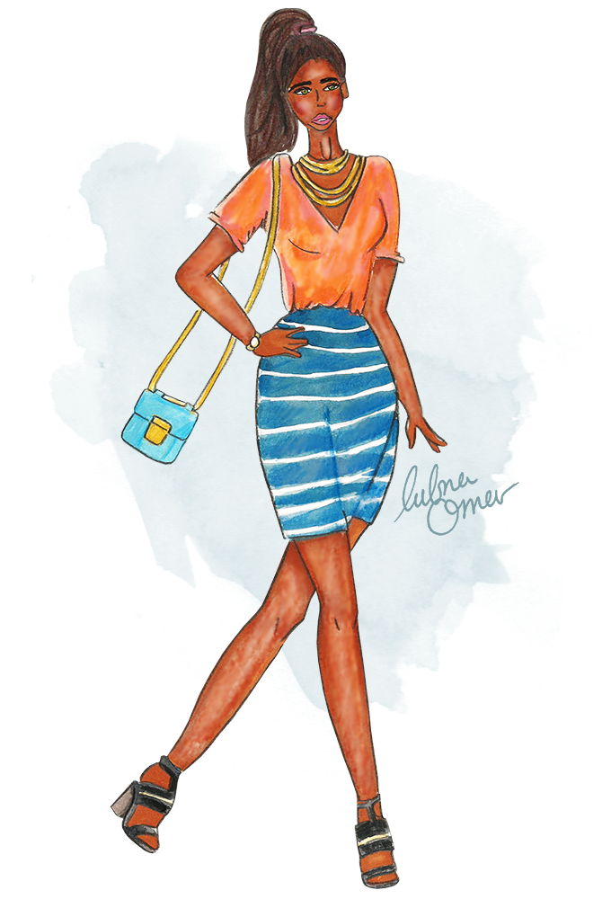 fashion sketch by lubna omar