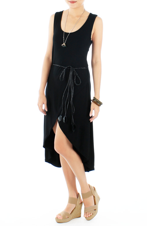 Slouchy Dip Back Wrap Dress with Woven Leaf Belt