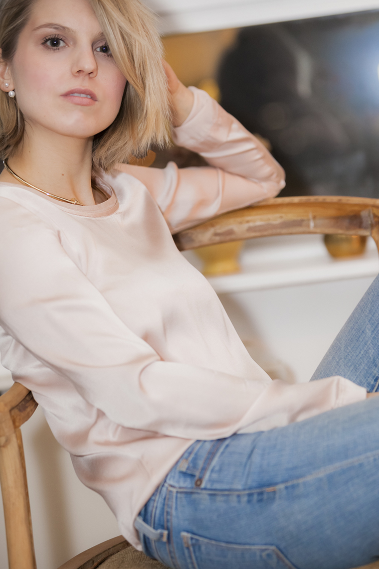 Fashion Over Reason, Hélène Heath, at home, living room, Ask FOR, Asos double pearl earrings, gold metal choker from Zara, Valentino blush pink top, distressed stripped vintage wood chair