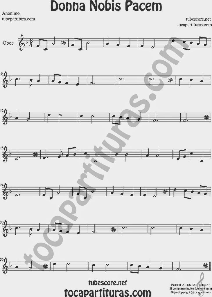 Donna Nobis Pacem Partitura de Oboe Sheet Music for Oboe Music Score