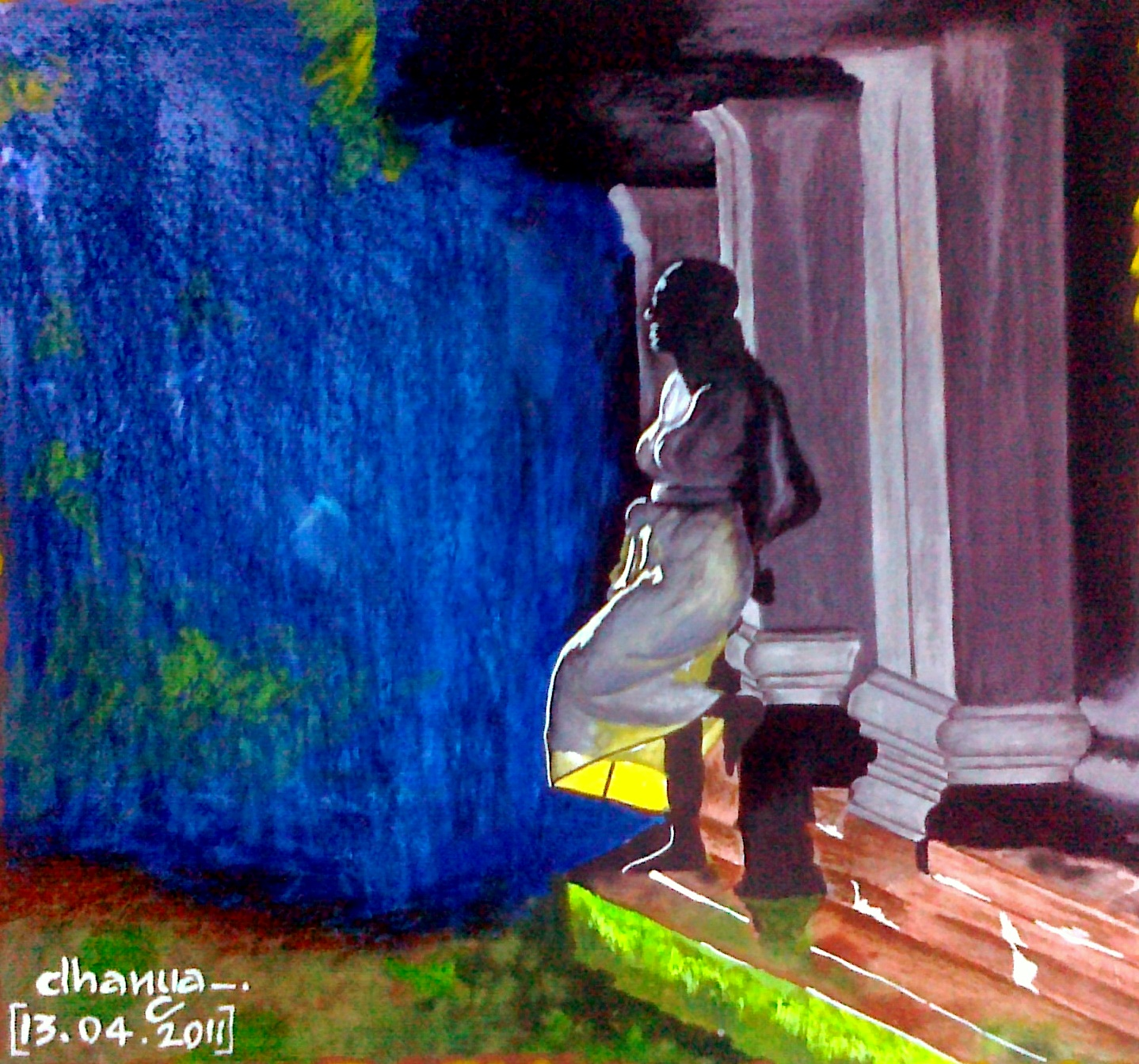 My small and beautiful world.: A Lonely Girl. Painting.