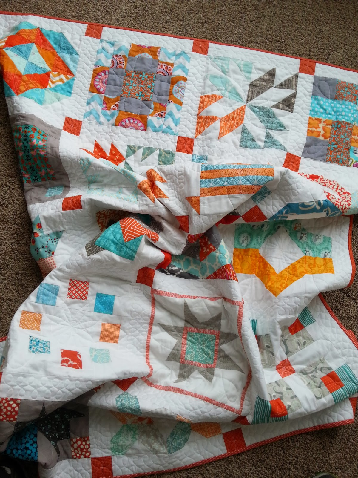 Aqua and Orange Sampler Quilt Crumpled