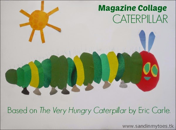 Magazine Collage Caterpillar craft based on The Very Hungry Caterpillar by Eric Carle