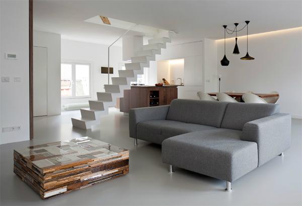 Gietvloer Bestaande Keuken : Duplex Apartment Interior Design