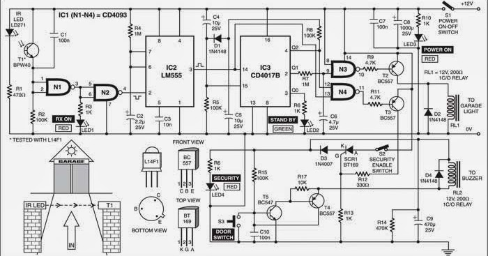 garage light and security control wiring diagram schematic