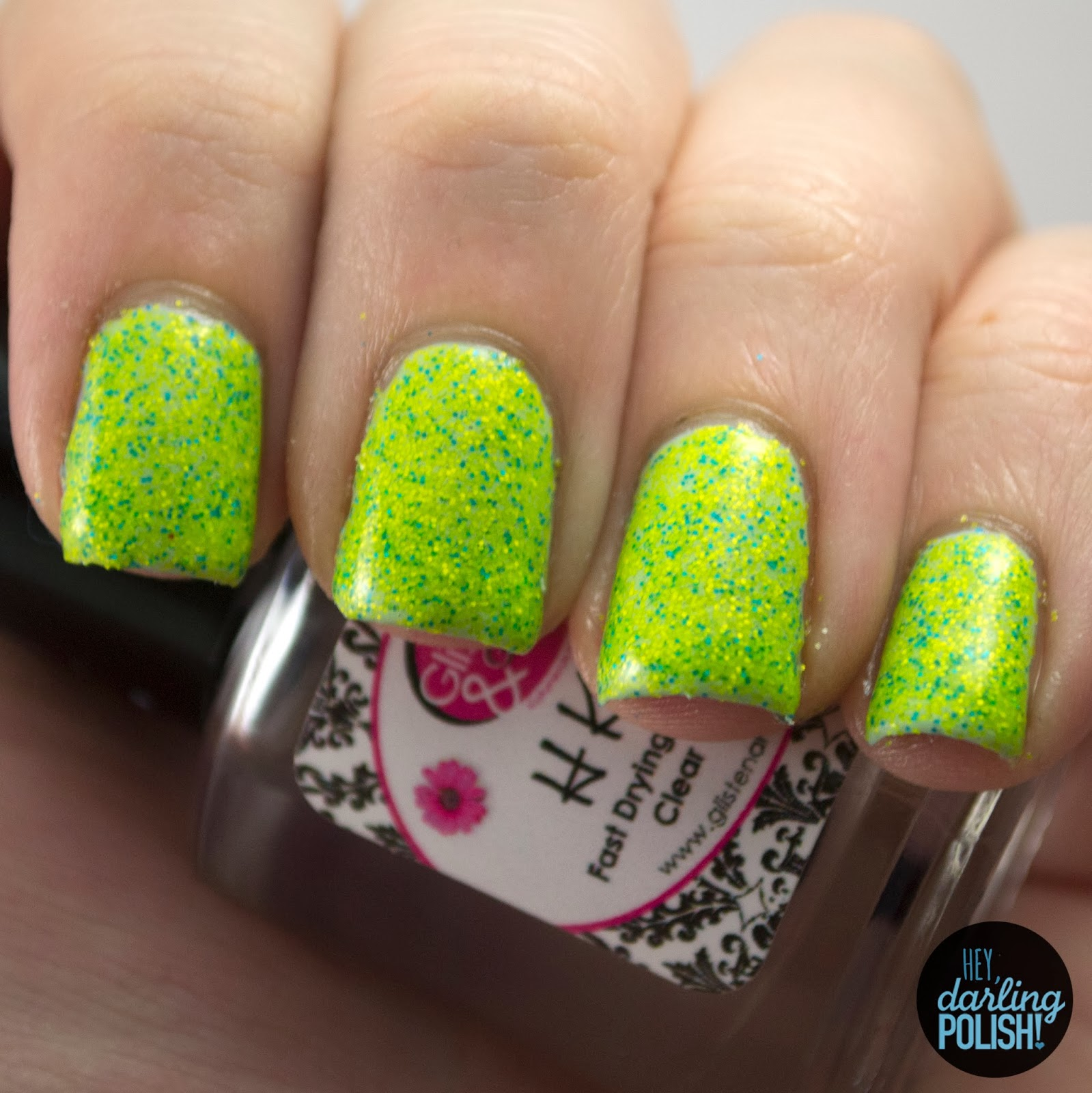 green, yellow, blue, sand art, micro glitter, nails, nail polish, indie, indie polish, sick lacquers, glitter, matter glitter, hey darling polish,