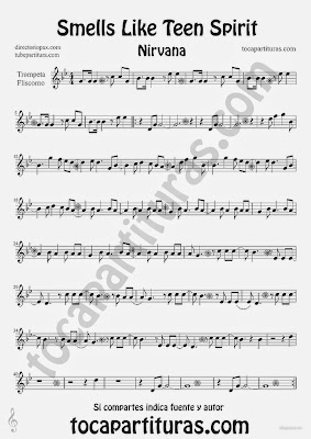 Tubescore Smells Like Teen Spirit by Nirvana Sheet Music for Trumpet and Fluglehorn