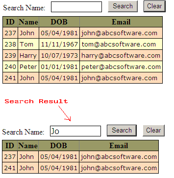 Jquery table search client side c guide c asp net for Hide table th jquery