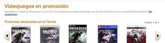 Captura de pantalla de la cabecera de Amazon Juegos