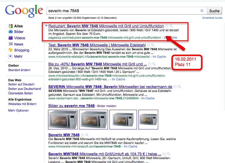 Wettbewerb Pagewizz Googleliste
