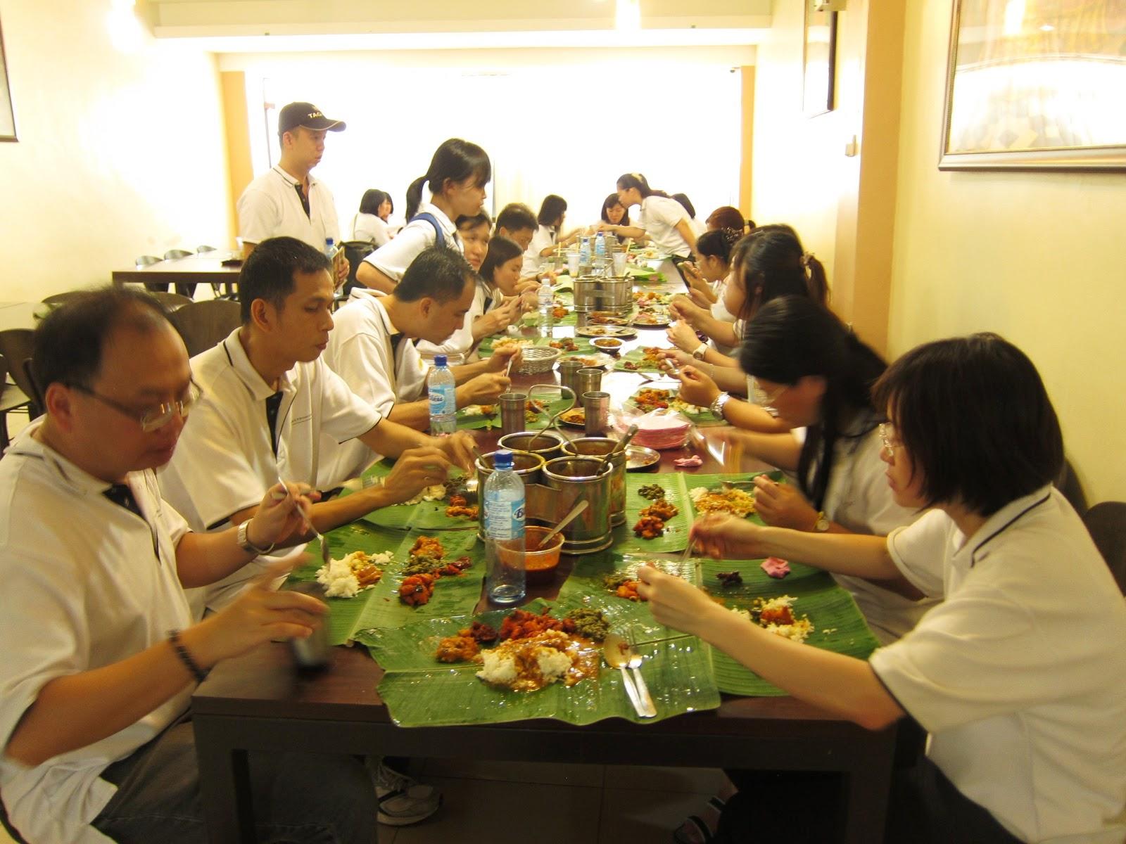 Ah seng blog team building 2 indian banana leaf cuisine for Team building cuisine