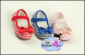 ELLY BOW STRIPE SHOE PINK BLUE RED RM42