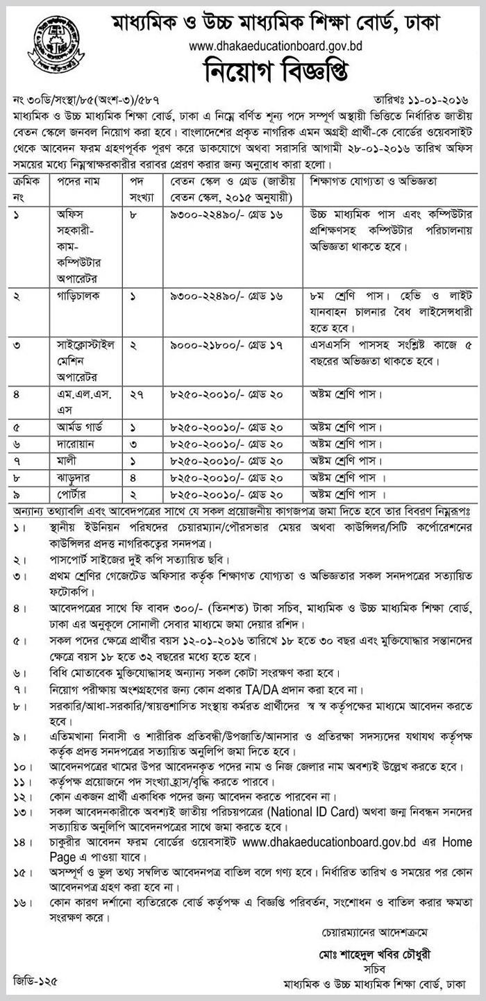 Dhaka Education Board Job Circular 2016 - Latest deshi Results ... on amazon job application form, starbucks job application form, generic job application form, for job interview, small business job application form,
