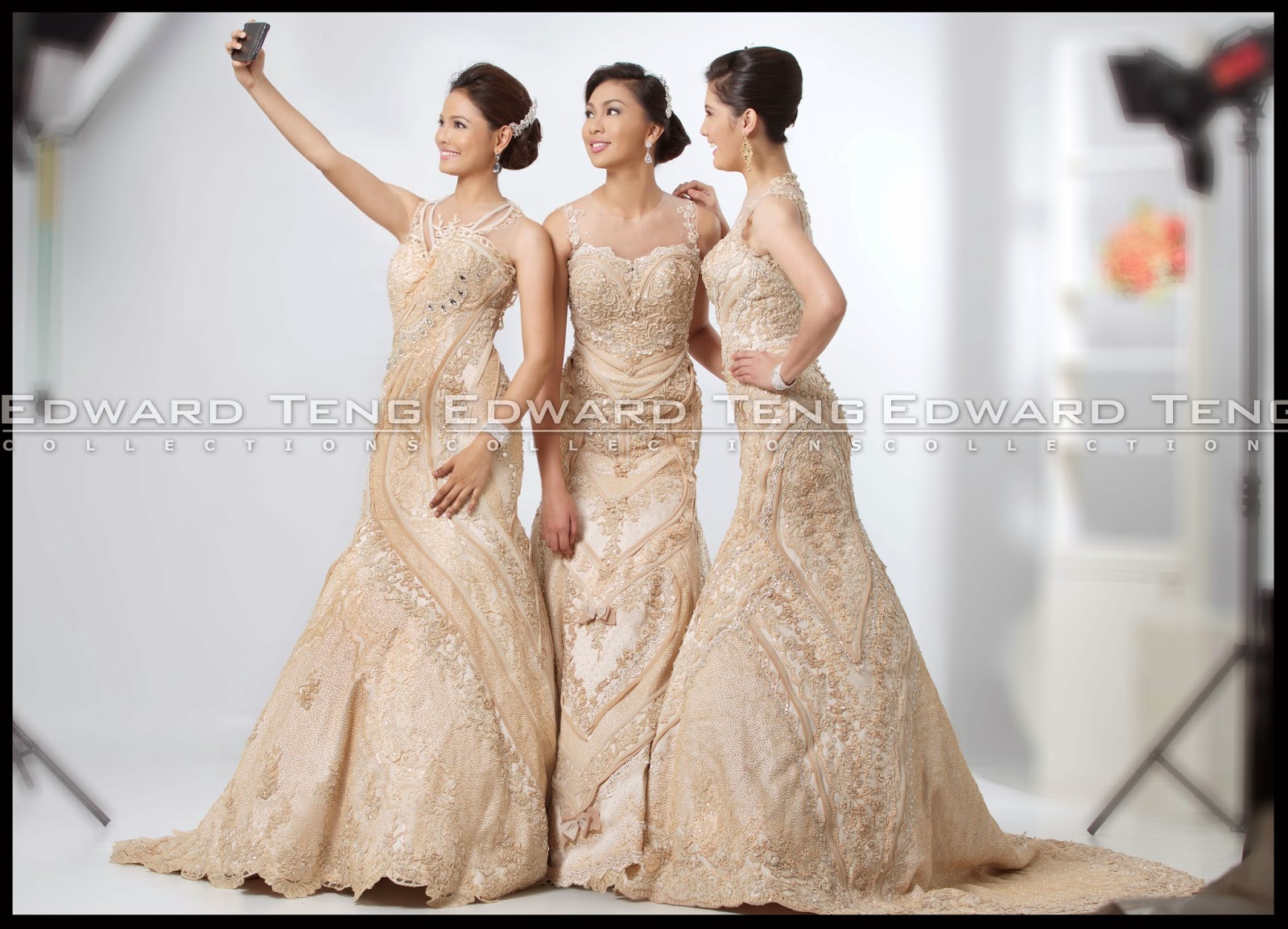 Triplet Brides In Serpentina Champagne Gowns
