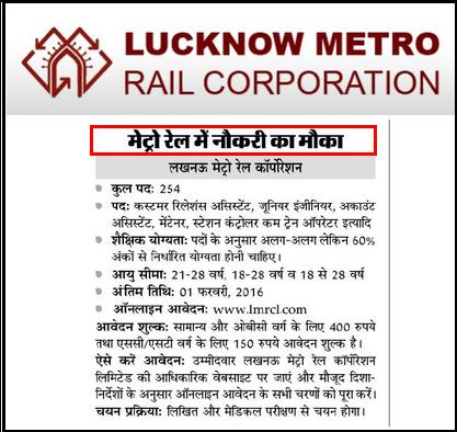 Lucknow Metro Rail (LMRCL) 254 latest Recruitment Advertisement 2016