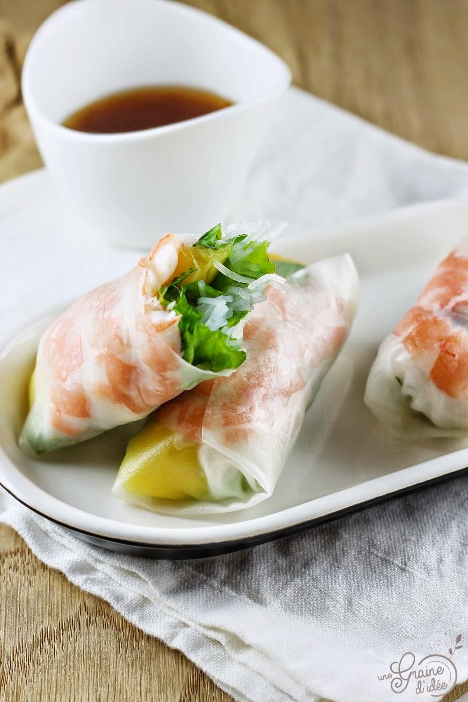 Rouleau de Printemps Crevettes Mangue Salade Vermicelle de Riz Menthe - Une Graine d'Idée