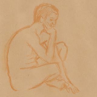 Zeichnung in Rötel: Aktpose Mann, denkend