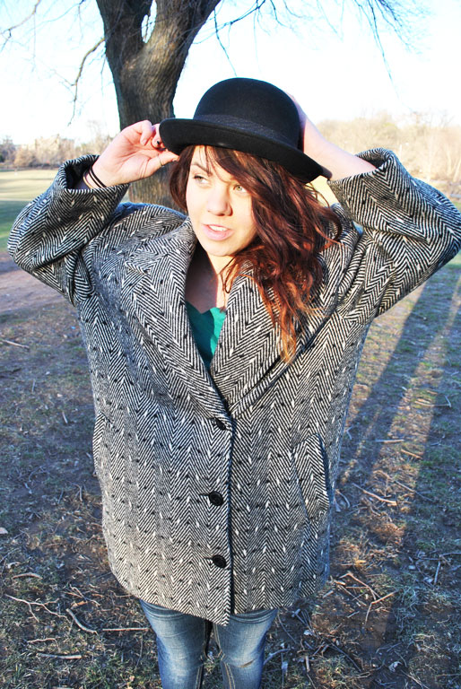a style of your own blog, 80's jacket, herringbone, bowler hat, prospect park, thrifted