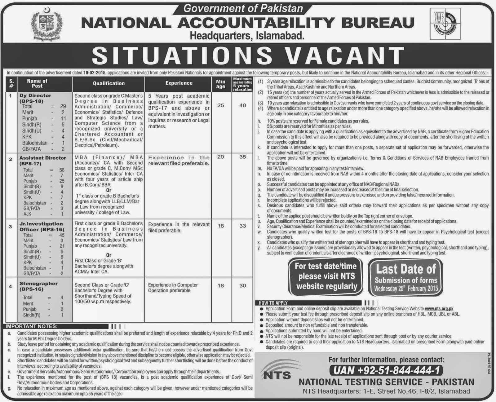 Govt Jobs in NAB