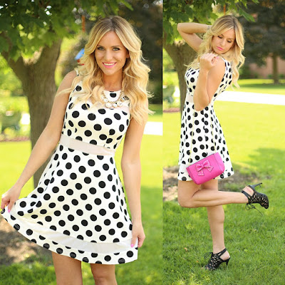 Classic black and white polka dot dress from Flourish Boutique