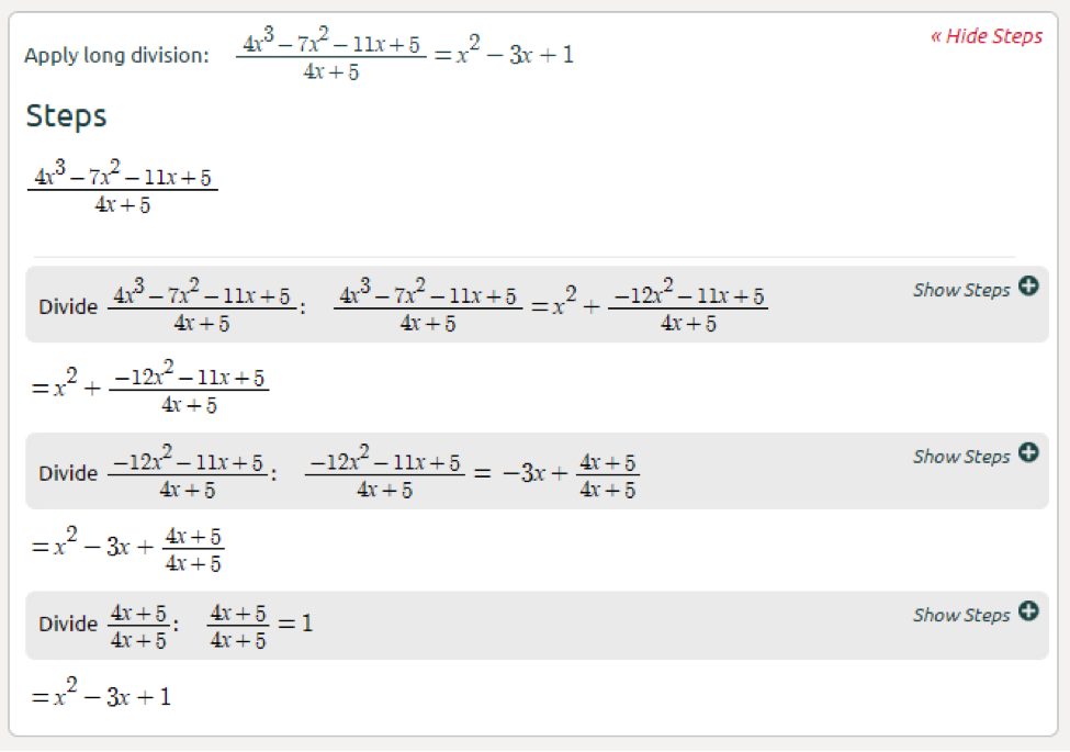 High School Math Solutions Polynomial Long Division Calculator Symbolab Blog