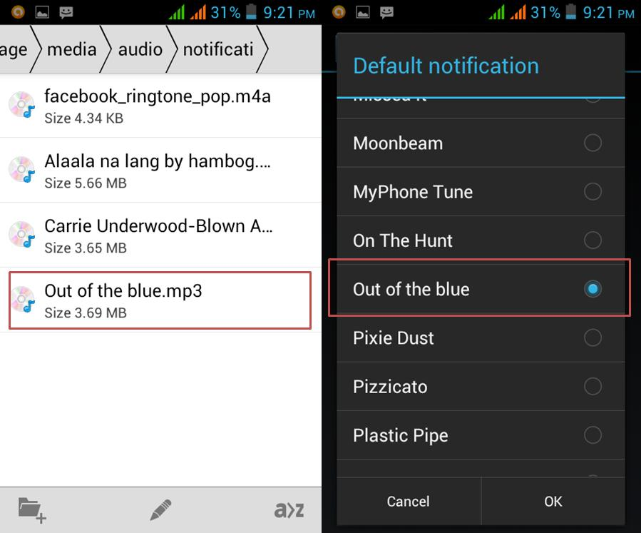 how to set mp3 song on myphone android as message alert toneringtone